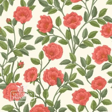Hampton Roses wallpaper in a choice of Rouge, Rose, Marigold and Cream