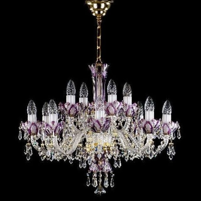 Stunning large coloured chandelier - gold
