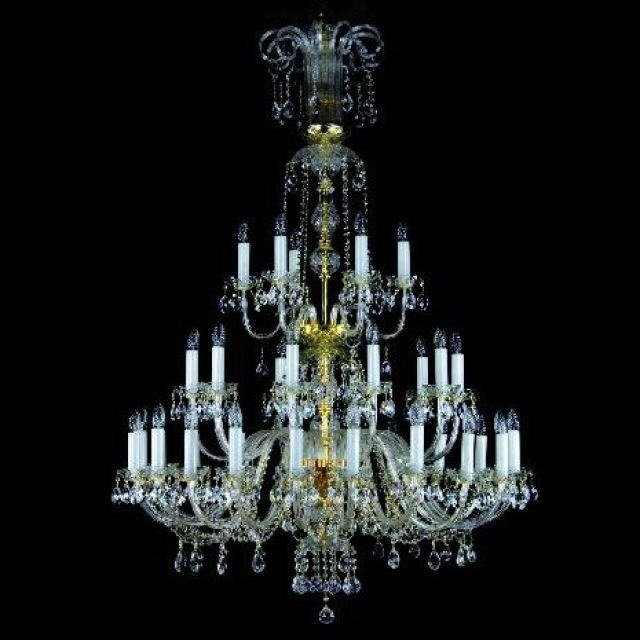 Tall glass chandelier
