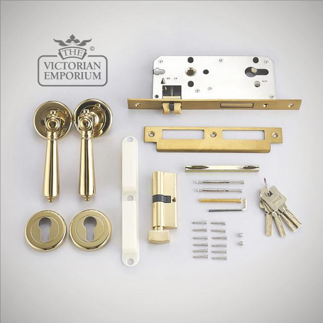 Nelson Brass Antimocrobial and Antibacterial Door Handle and Lock Set