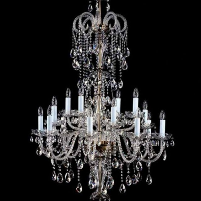 Cascading lead crystal chandelier