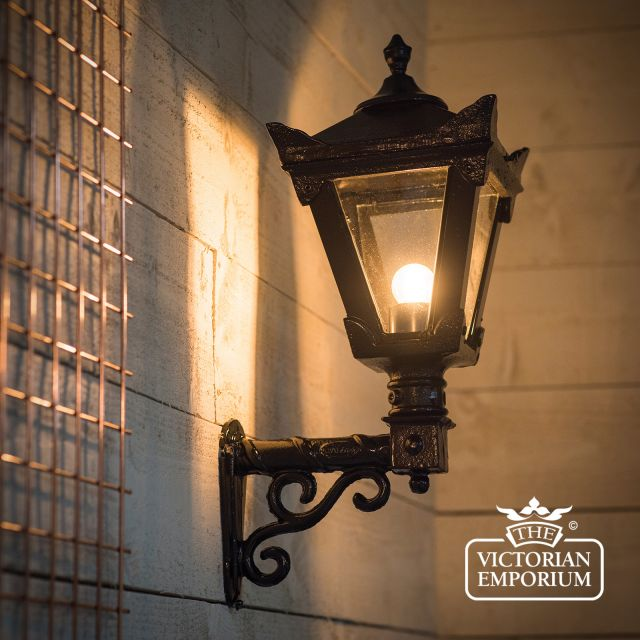 Traditional cast iron lantern on wall bracket in a choice of sizes