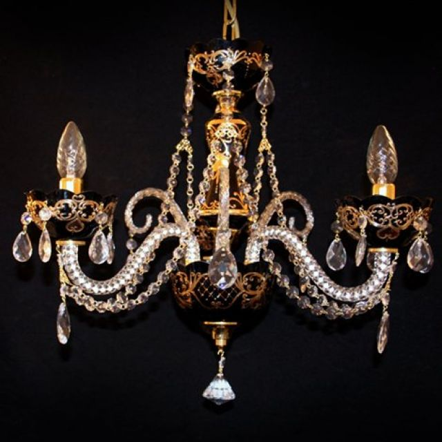 Coloured chandelier with handpainted gold detail