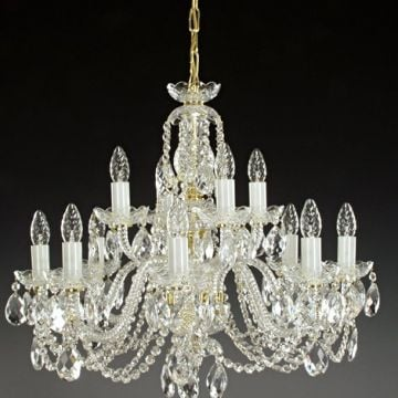 Two tier lead crystal chandelier