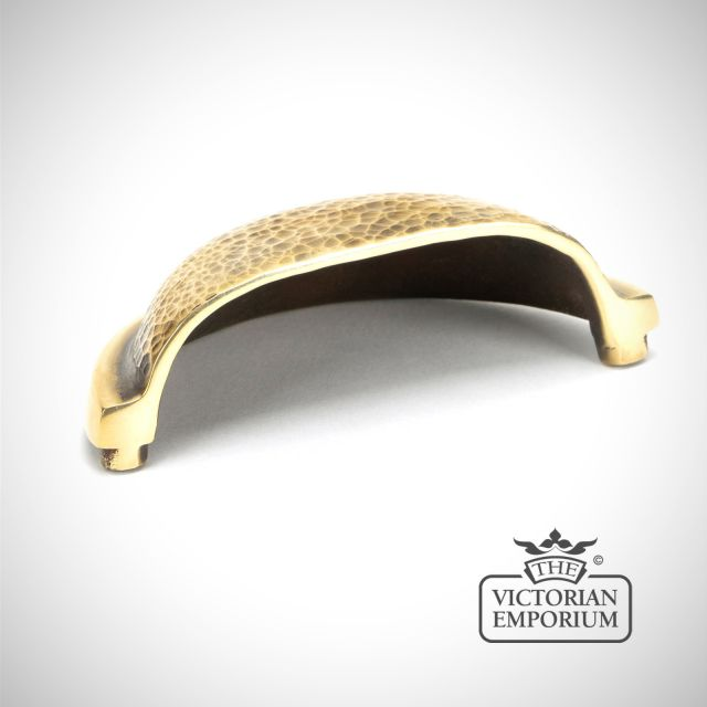 Hammered Regency Concealed Drawer Pull in Aged Brass