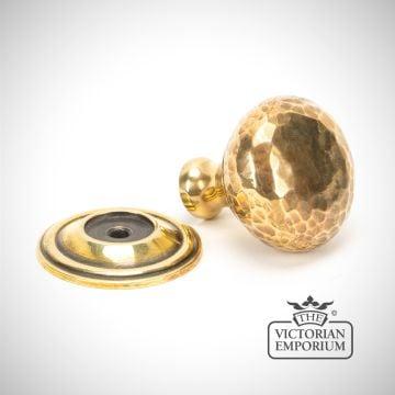 Aged Brass Hammered Mushroom Cabinet Knob