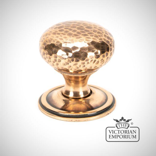Polished Bronze Hammered Mushroom Cabinet Knob