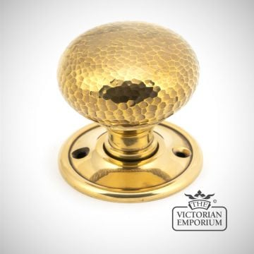 Aged Brass Hammered Mushroom Mortice/Rim Knob Set