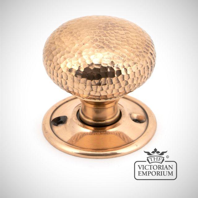 Polished Bronze Hammered Mushroom Mortice/Rim Knob Set