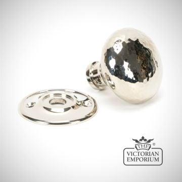 Polished Nickel Hammered Mushroom Mortice/Rim Knob Set