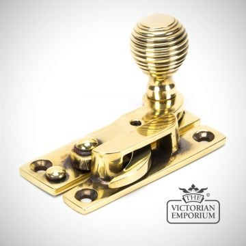 Aged Brass Beehive Window Sash Hook Fastener