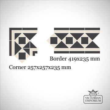 Dover Victorian Mosaic Floor Tiles - Border or Corner