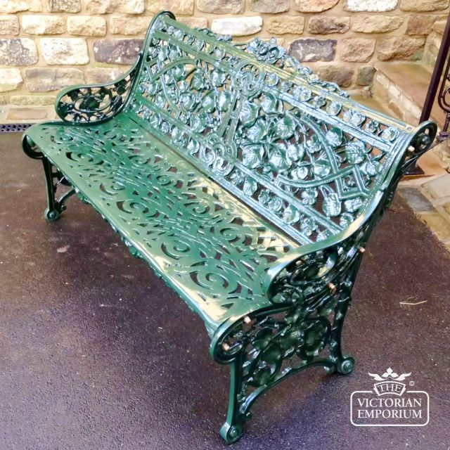 Victorian Cast Trellis Leaf Design Bench - 3 Seater