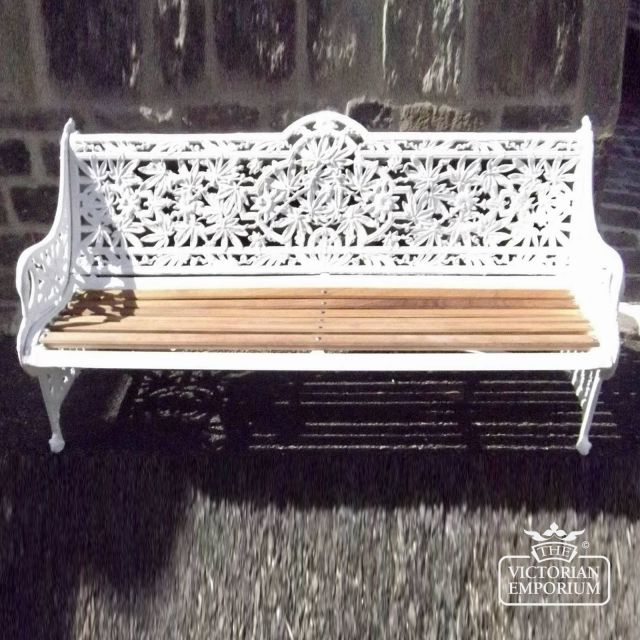 Victorian Cast Passion Flower design Garden Bench
