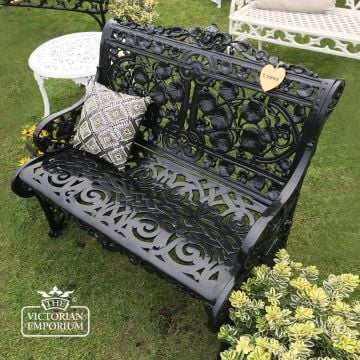 Victorian Cast Trellis Leaf Design Bench - 2 Seater