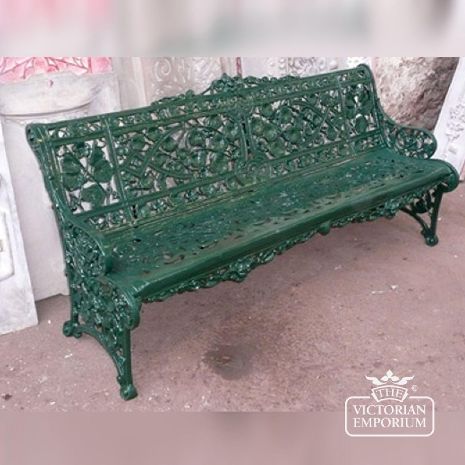 Victorian Cast Trellis Leaf Design, Large Cast Aluminium Garden Bench