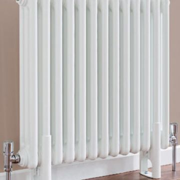 Plain white column radiator 4 columns 602mm high