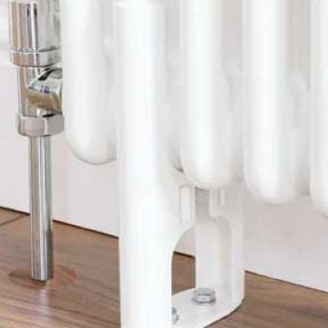 Plain white column radiator feet for 3 column radiator