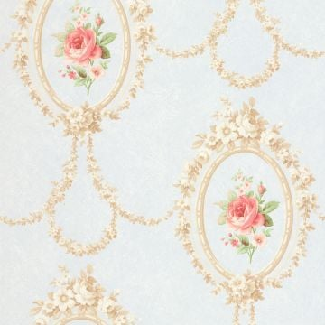 Flowers in Oval Frames Wallpaper