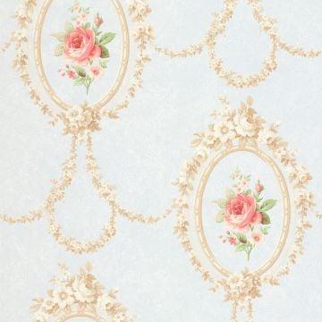 Flowers in Oval Frames Wallpaper