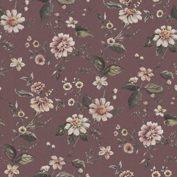 Marion's Flowers wallpaper with an aubergine, white or grey background