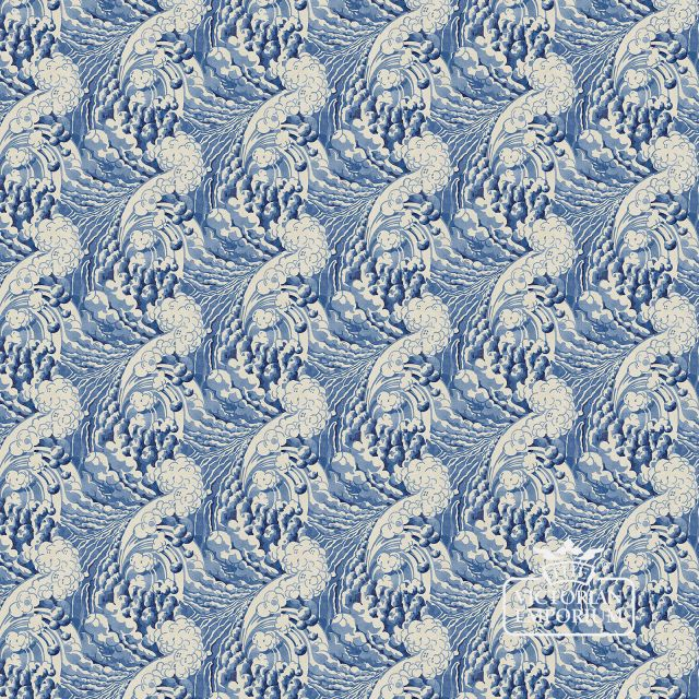 Waves wallpaper in various shades of deep blue