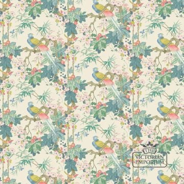 Parrot and jungle wallpaper in a choice of deep blue or off white