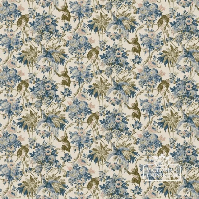 Monkey wallpaper in a choice of deep blue or pastels