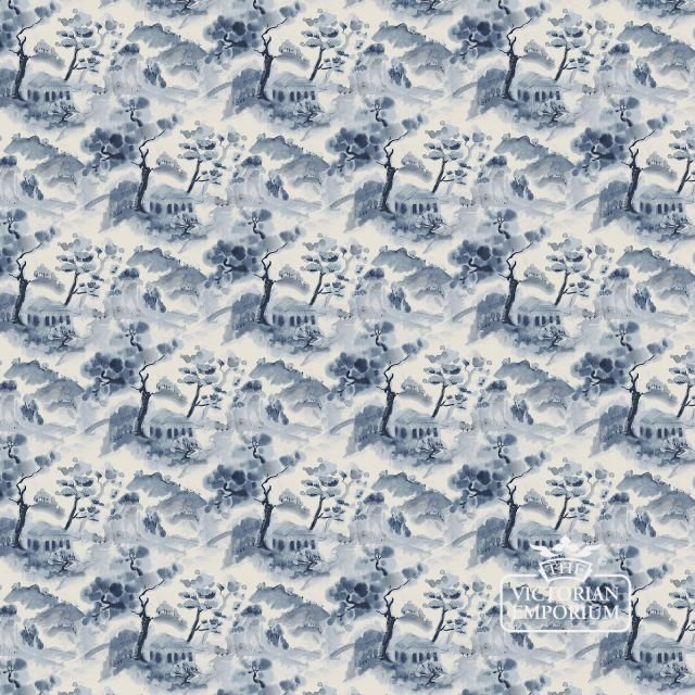 Mountain retreat wallpaper in various shades of deep blue