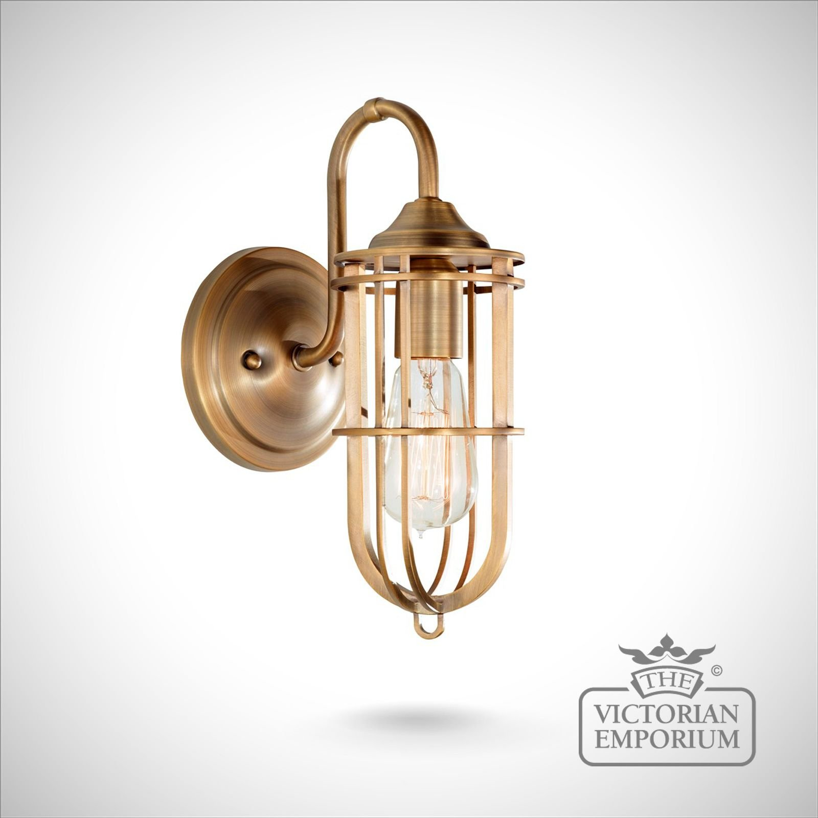 Urban Single Wall Light In Dark Antique Brass Interior