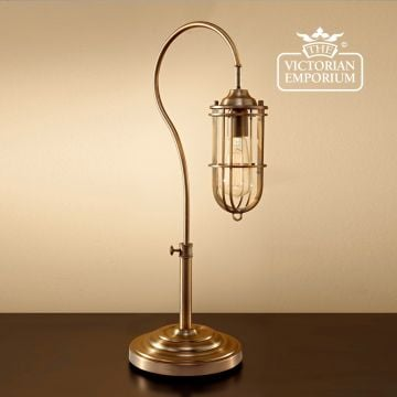 Table lamp in dark antique brass