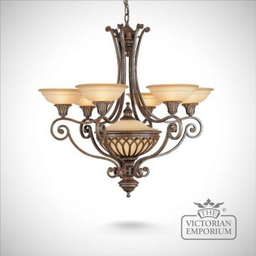 Stirling stunning 6 light chandelier in British Bronze