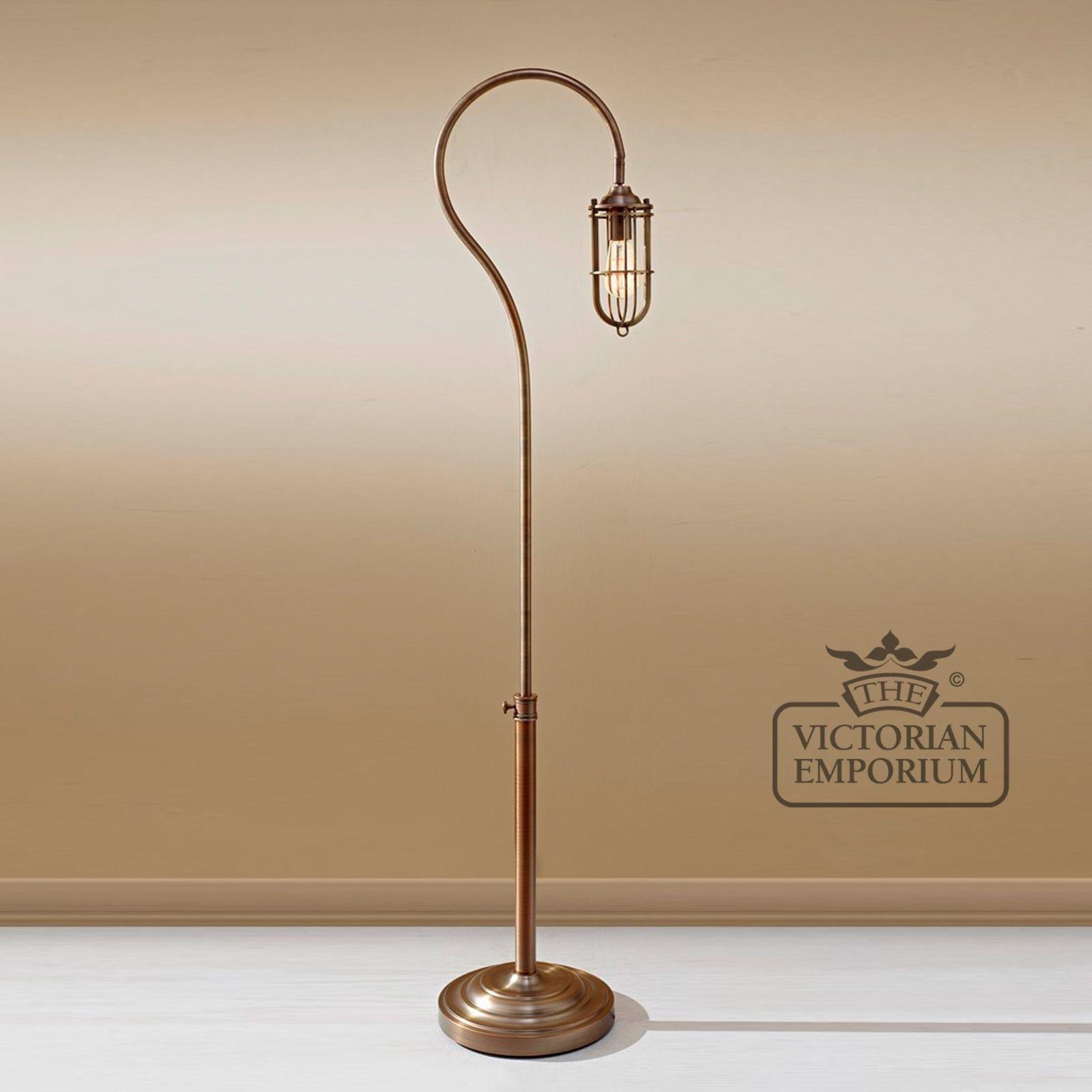 floor lamp in dark antique brass floor lamps. Black Bedroom Furniture Sets. Home Design Ideas