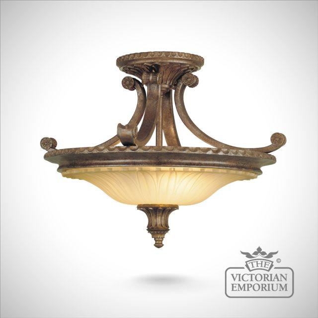 Stirling semi flush ceiling light in British Bronze