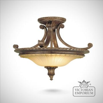 Stirling semi flush ceiling light in British Bronze