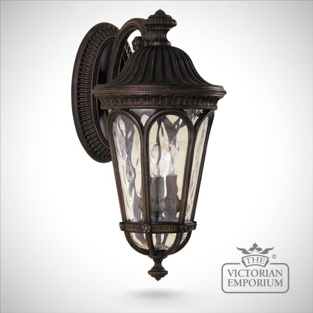 Traditional Silver Haematite Gate Post Lantern Or Driveway: Regent Large Wall Lantern