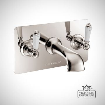Wall Mounted Bath Filler With Concealing Plate - in Chrome, Nickel or Copper
