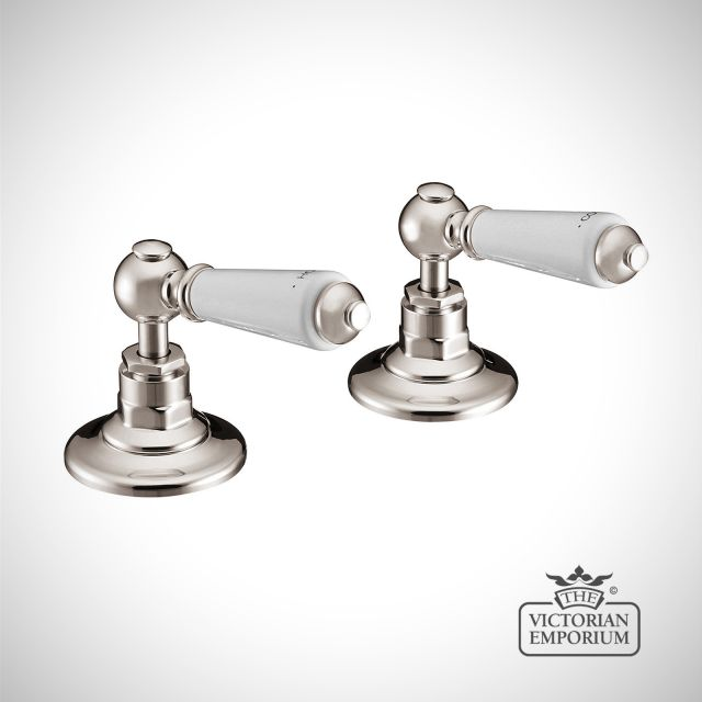 Deck Mounted Bath Valves With Ceramic Lever - in Chrome, Nickel or Copper