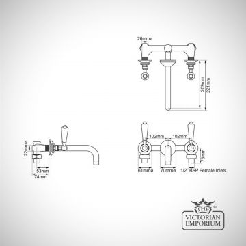 Basin Wall Mounted 3 Hole Mixer - in Chrome, Nickel or Copper