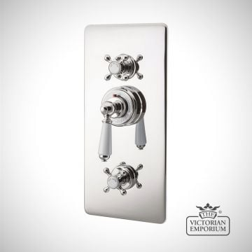 Concealed Thermostatic Valve With Integral flow Valves - in Chrome, Nickel or Copper