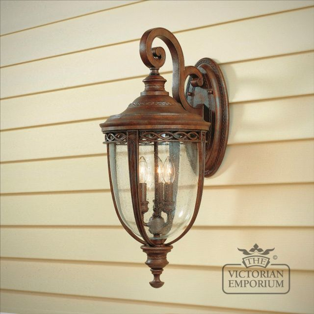 Bridle wall lantern in british bronze finish - large