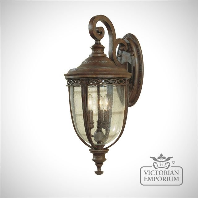 Bridle wall lantern in british bronze finish - medium