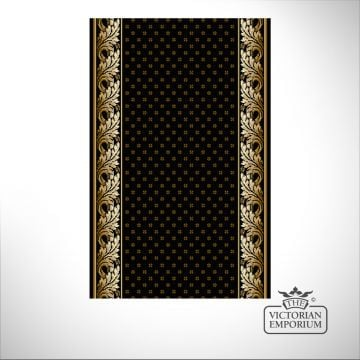Royal Aubuson Stair Runner Carpet in Black in a selection of widths