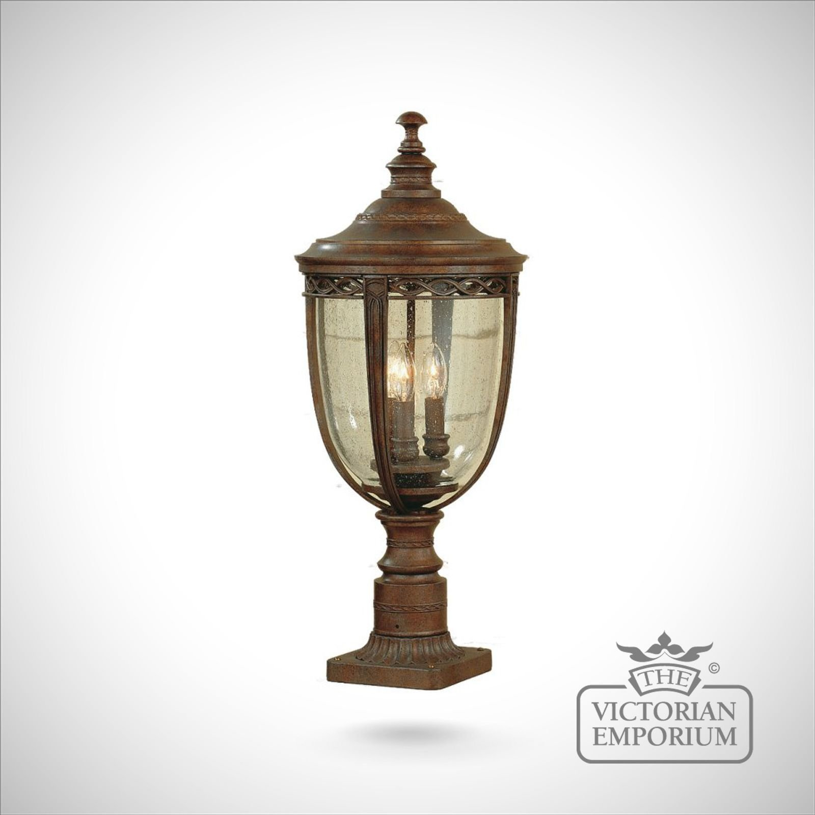 Feiss English Bridle Medium Pedestal Lantern Light Black: Bridle Medium Pedestal In British Bronze Finish