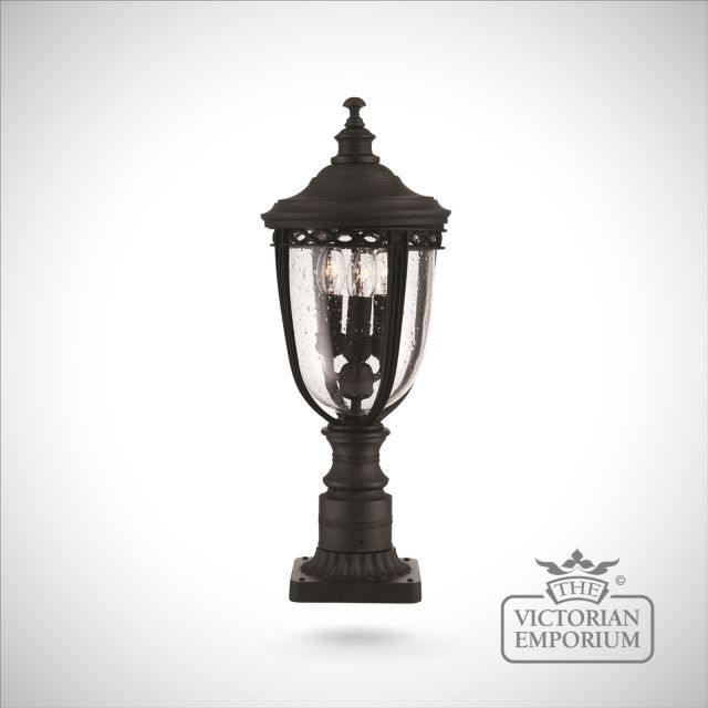 Feiss English Bridle Medium Pedestal Lantern Light Black: Bridle Large Pedestal Lamp In Black
