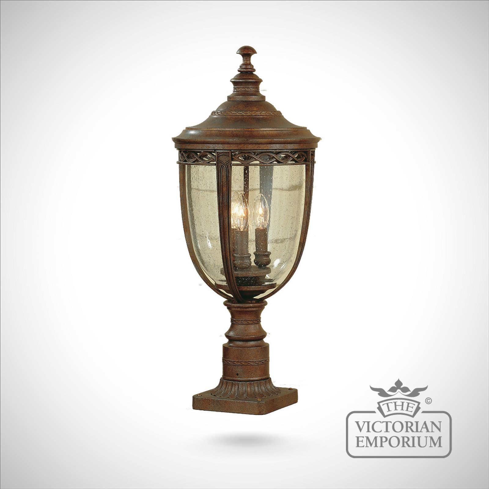 Bedfords Medium Pedestal Lantern In Black: Bridle Large Pedestal Lamp In British Bronze
