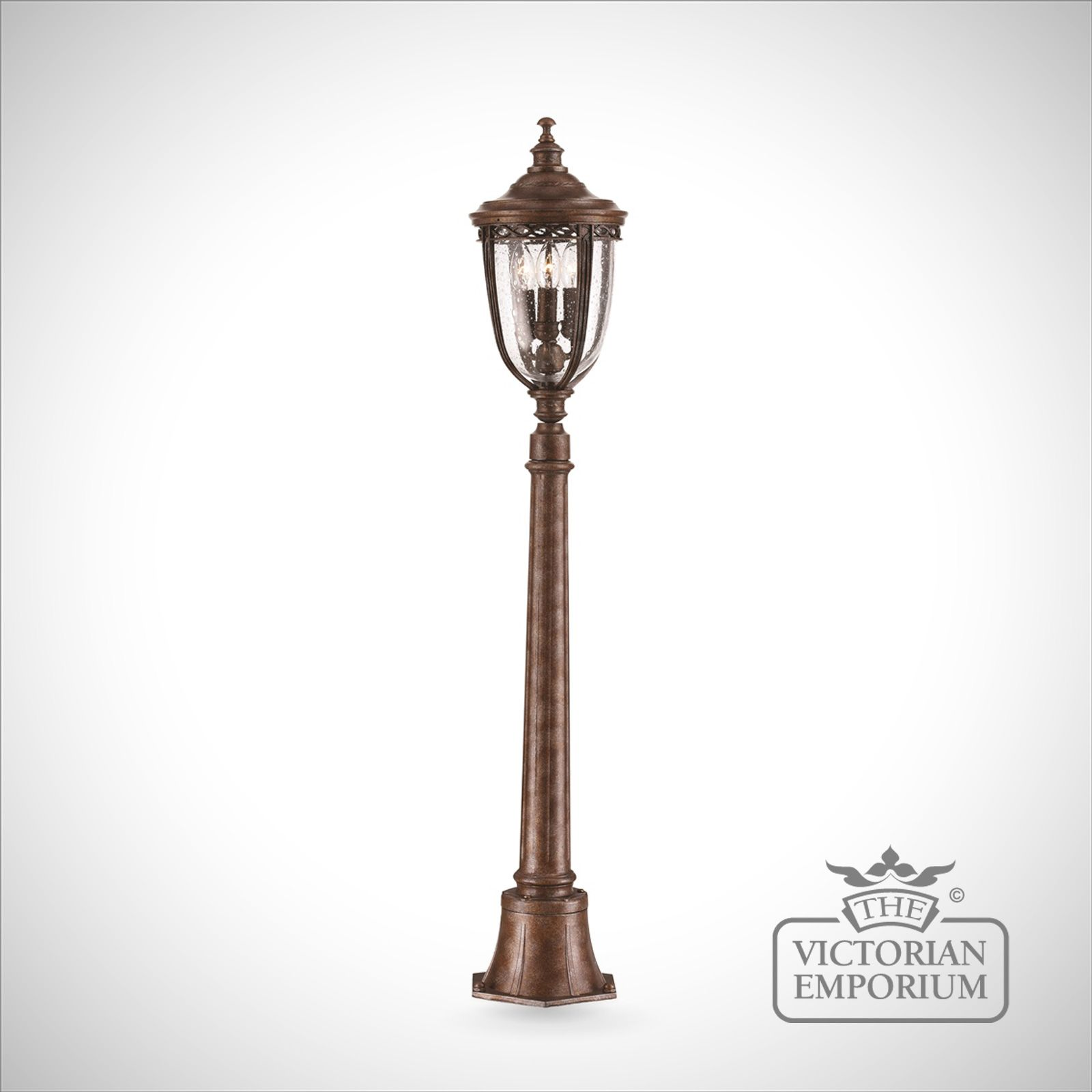 Feiss English Bridle Medium Pedestal Lantern Light Black: Bridle Medium Bollard Sized Lamp Post In Bronze Finish