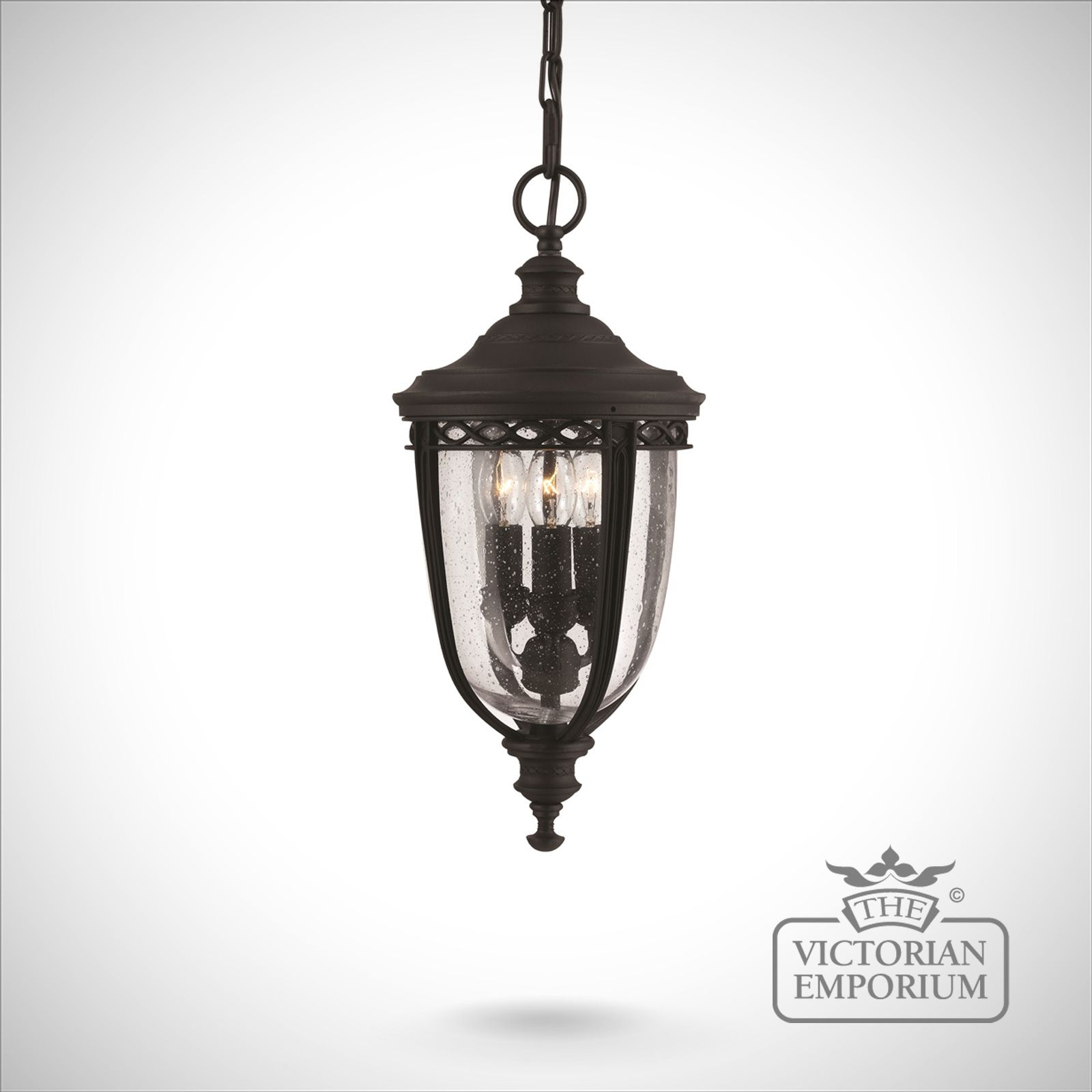 Feiss English Bridle Medium Pedestal Lantern Light Black: Bridle Medium Chain Lantern In Black Finish