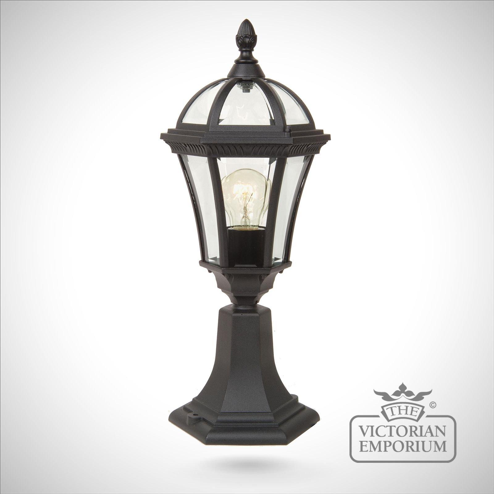 Cheltenham Cast Pedestal Lantern Light Black: Ledbury Pedestal Lantern