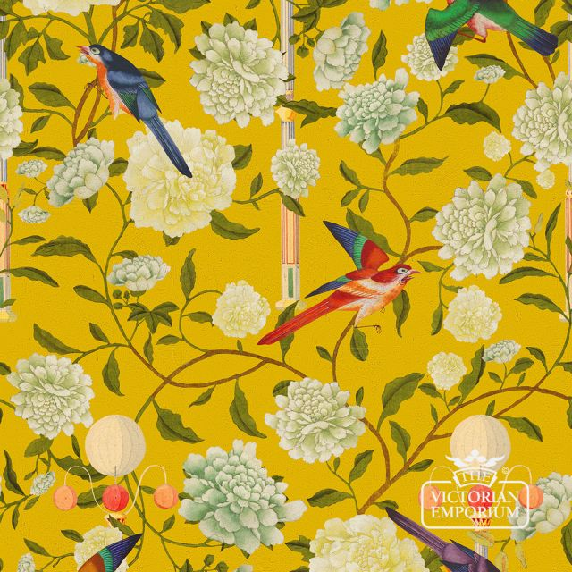 Garden of Immortality Wallpaper in a choice of blue or yellow